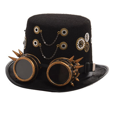 Vintage Women Steampunk Gear Chain With Goggle Top Hat Victorian Punk Hat