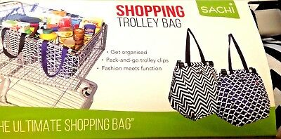 2 x Reusable Shopping Bags Trolley Bags Eco-Friendly Grocery Cart