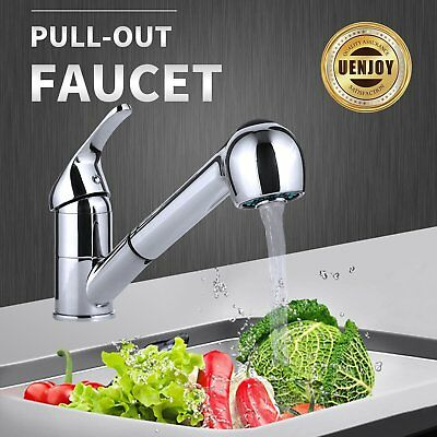 Kitchen Spray Swivel Sink Faucet Pull-Out One Handle Brushed Nickel Mixer Tap RV