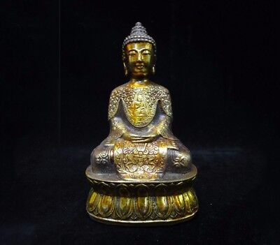 """Old Chinese Gilt Bronze Buddha Seated Statue Sculpture """"XuanDe"""" Mark"""