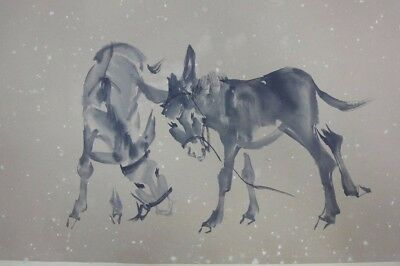 """Rare Long Old Chinese Scroll Hand Painting Donkeys Marked """"HuangZhou"""""""