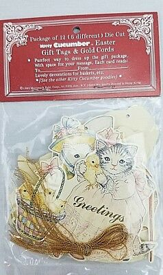 KITTY CUCUMBER Gift Basket Tags EASTER Pkg of 12 Die Cut Cat Rabbit Chicks Eggs