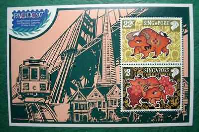 """Singapore, 1997, """"pacific 97' Stamp Exhibition"""" S/s Mint Nh Fresh Good Condition"""