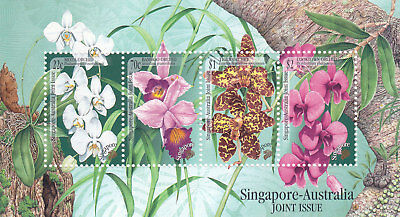 """Singapore, 1991, """"orchids - Joined Australia"""" S/s Mint Nh Fresh Good Condition"""
