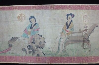"""Very Long Vintage China Hand Scroll Painting Beauty Marked """"TangYin"""""""