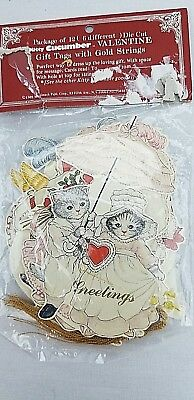 KITTY CUCUMBER Qty 12 Gift Basket Tags VALENTINE Hearts Flowers Basket TO FROM