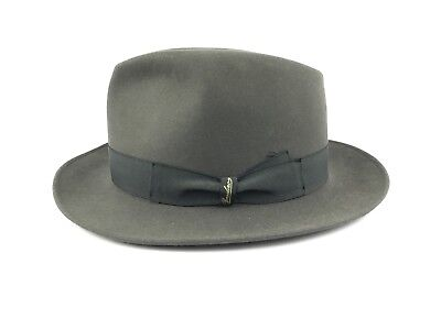 Borsalino Beaver Fur Felt Gray Medium Brim 58 Made In Italy 1857
