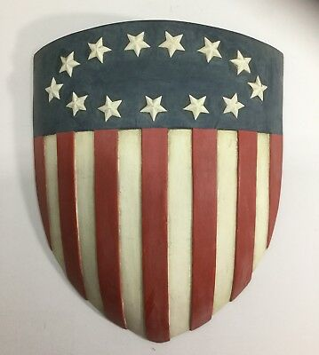 Vintage American Bicentennial Flag Shield  With 13 Stars Porch House Decoration