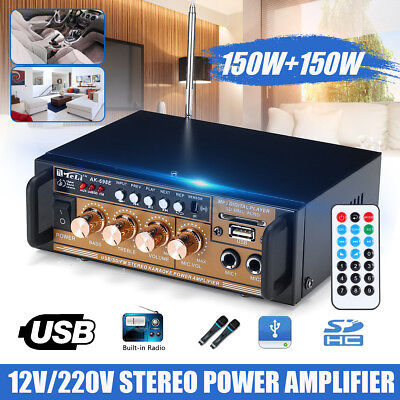 300W HIFI Audio Stereo-Power Verstärker FM Radio USB/TF 2CH Car Home 12V / 220V