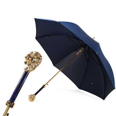 NEW Pasotti Blue Double Cloth Umbrella With Lion Handle