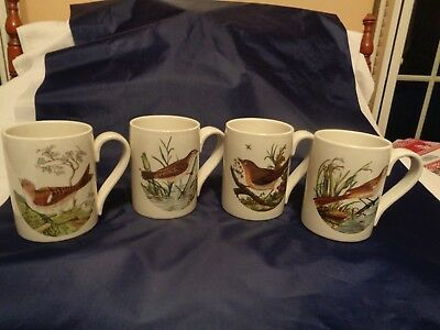 "Vintage Portmeirion ""Birds of Britain"" Mugs x4!  10 oz Excellent!  HTF!!"