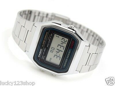A158Wa-1D Casio Digital Silver Vintage Retro Stainless Steel Band Watch A-158Wa