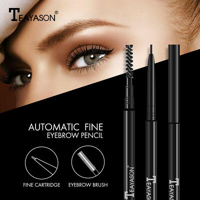 Dual Ended With Eyebrow Brush Waterproof Lasting Black Brown Eyebrow Tatoo Pen ~