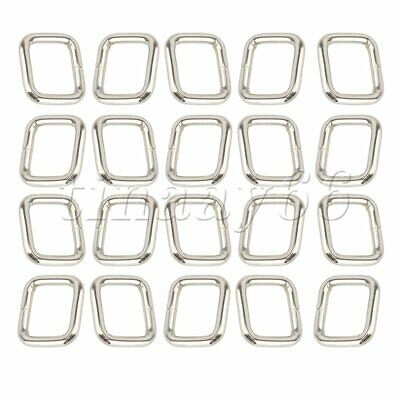 20P Metal Rectangle Ring Webbing Belts Buckle Loop for DUY Bags Purse Craft 20mm