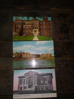 3 Ladysmith Wisconsin post Cards WI WISC CARNEGIE LIBRARY ST MARY'S HOSPITAL