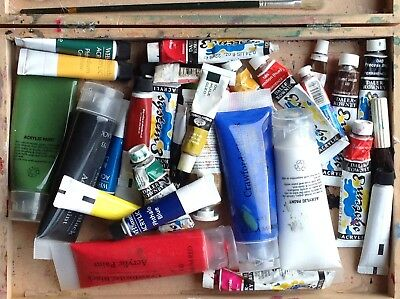Artist's Wooden Box Containing Paint, Tools And Artist Manequin