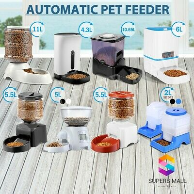 Self Feeding Pet Feeder Dispenser Waterer Dog Cat Food Water Bowl Automatic