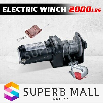Wireless 2000LB 907kg 12V Electric Winch Steel  Cable Rope Remote ATV 4WD Boat