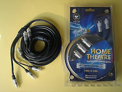 Cable plat HOME CINEMA or 24k ofc 5 metres 2x3 rca/cinch haute définition NEUF