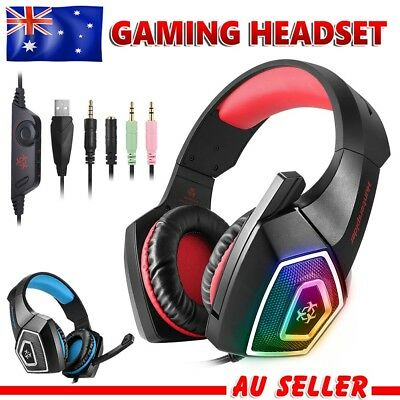 Gaming Headset MIC LED Headphones Surround for Xbox One Mac PC Laptop PS4 3.5mm