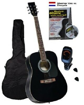 GUT: Westerngitarre Clifton 4/4 Akustikgitarre Gitarrenset Instrument schwarz