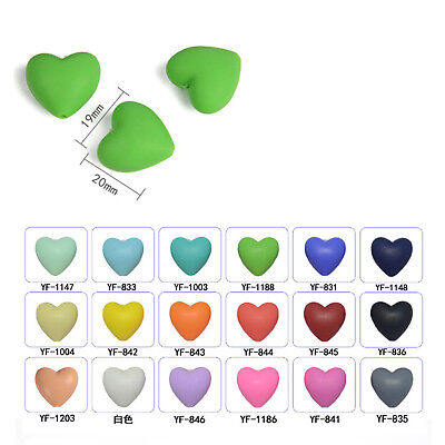 20Pcs Heart Shape Silicone Teething Beads Safety For DIY Baby Teether Toy Series