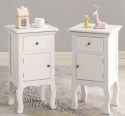 White Pair of Wooden Bedside Table Unit Cabinet 2 Drawers 2 Doors Nightstand