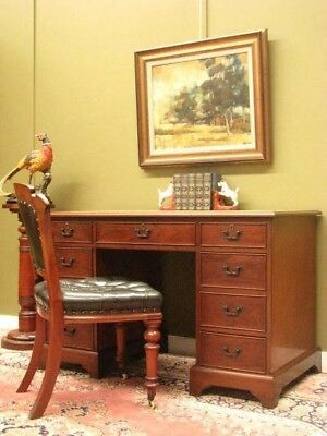 VINTAGE CEDAR and LEATHER 9 DRAWER TWIN PEDESTAL DESK IN VGC FOR AGE.  c1960s