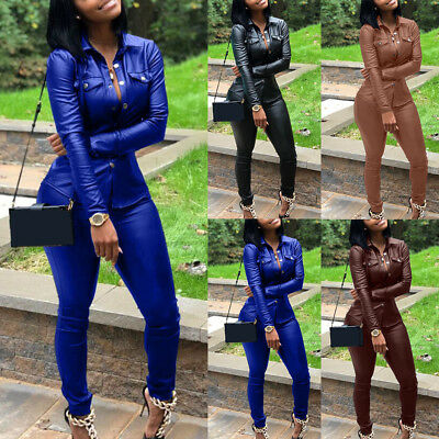 Casual Women Solid Faux Leather Turn Down Collar Shirt Pants Two-Piece Set Nice