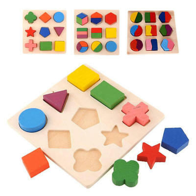 Kids Baby Wooden Geometry Building Blocks Puzzle Early Learning Educational Toys