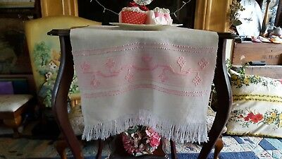 Vintage Embroidered Table Centre Tablecloth Pink Embroidery
