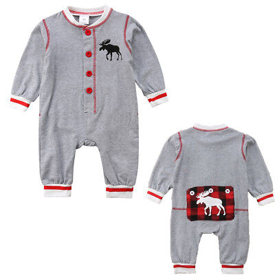 Newborn Infant Baby Boy Girl Xmas Deer Clothes Romper Jumpsuit Bodysuit Outfits