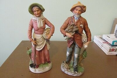 HOMCO Home Interiors #8884- Old Farmer Holding Firewood/Grandma with Hoe Farmer
