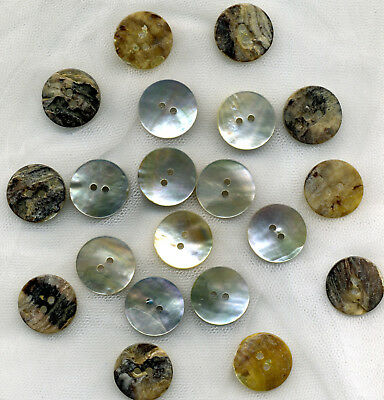 Button Oddments - 30 GENUINE NATURAL ABALONE  SHELL Round Buttons (~20mm)