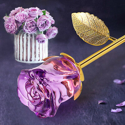 24K Gold Crystal Rose Dipped Flower Real Long Stem Romantic Valentine's Day Love