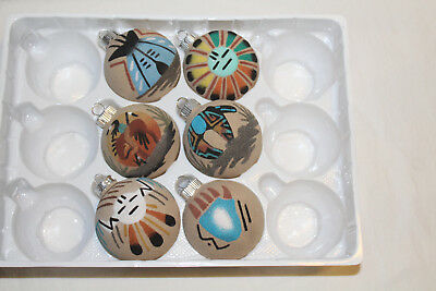 6-Authentic Native American(Navajo) Sand Painted Christmas Tree Ornaments-New