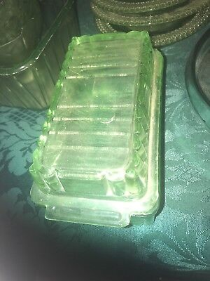Green Depression Glass Butter Dish Art Deco Geometric  Vintage Retro Kitchen