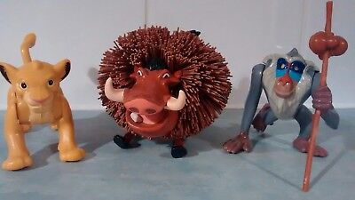 Rare Disneys Lion King Vintage 1990's Toys. Simba and rafiki figure,Pumba pompom