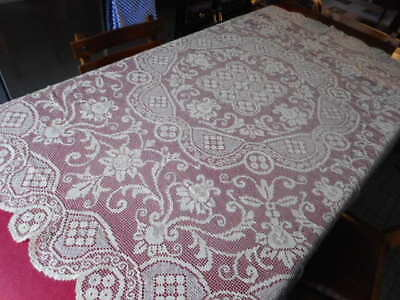 nappe RONDE tapis table coton ancien Diamètre 170 brodé Dentelle s/ filet écru