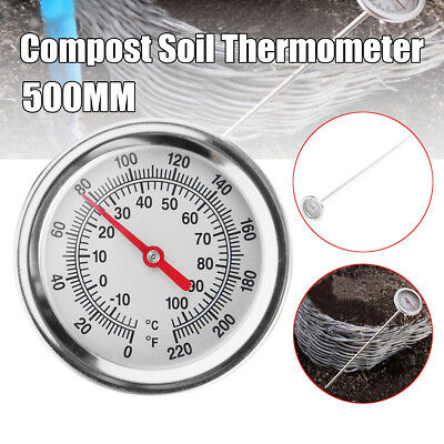 Compost Soil Thermometer Garden w/ 20'' Bimetal Stainless Steel Measuring Probe