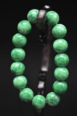 Exquisite Chinese Natural Green Jade Hand Woven Elastic Bracelet H9