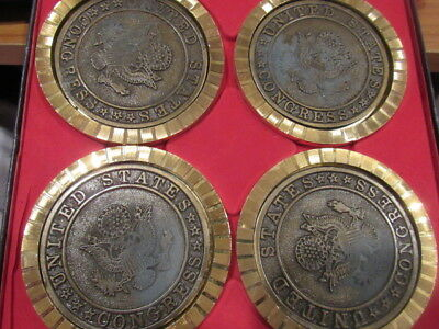 Set of 4 United States House of Representatives Coasters Gold Congress - Used