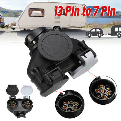13 Pin Car To 7 Pin Plug Socket Adapter Converter Caravan Towing Tow Bar UK 12V