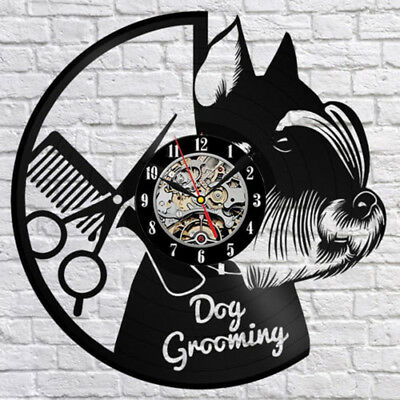 "Dog Grooming Salon Vinyl Record Wall Clock Fan Home Decor Wall 12"" Home Decor"