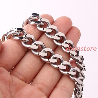 New Boy Men's Curb Cuban Chain 316L Stainless Steel Silver Tone Necklace 24""