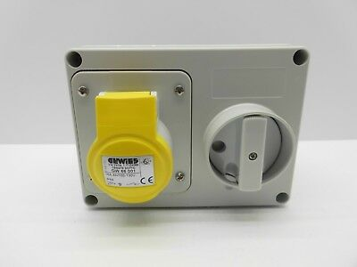 Gewiss Gw66001 16 Amp 110 Volt 3 Pin Yellow Ip44 Interlocked Switched Socket