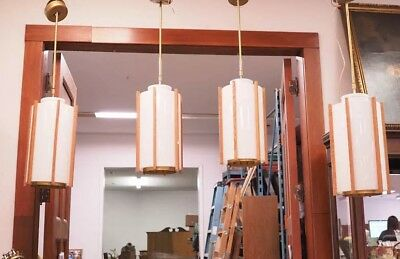 Vintage 1960s Large Danish Teak Hanging Light Fixtures Mid Century Modern