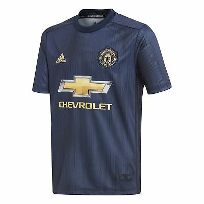 adidas Manchester United 2018/19 Kids Third Football Jersey Shirt Blue/Gold