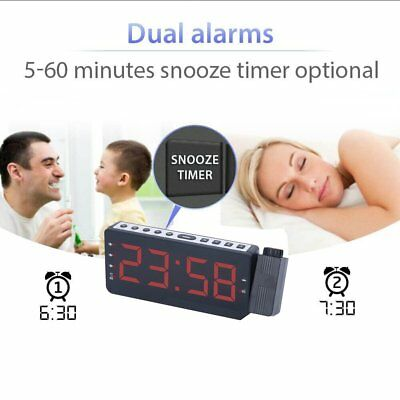 LCD Digital LED Projector Projection Snooze Alarm Clock Time Red`Backlight