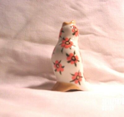 Bird H792 -5.765 Ceramic White w/Orange Flowers Songbird  Pie Bird